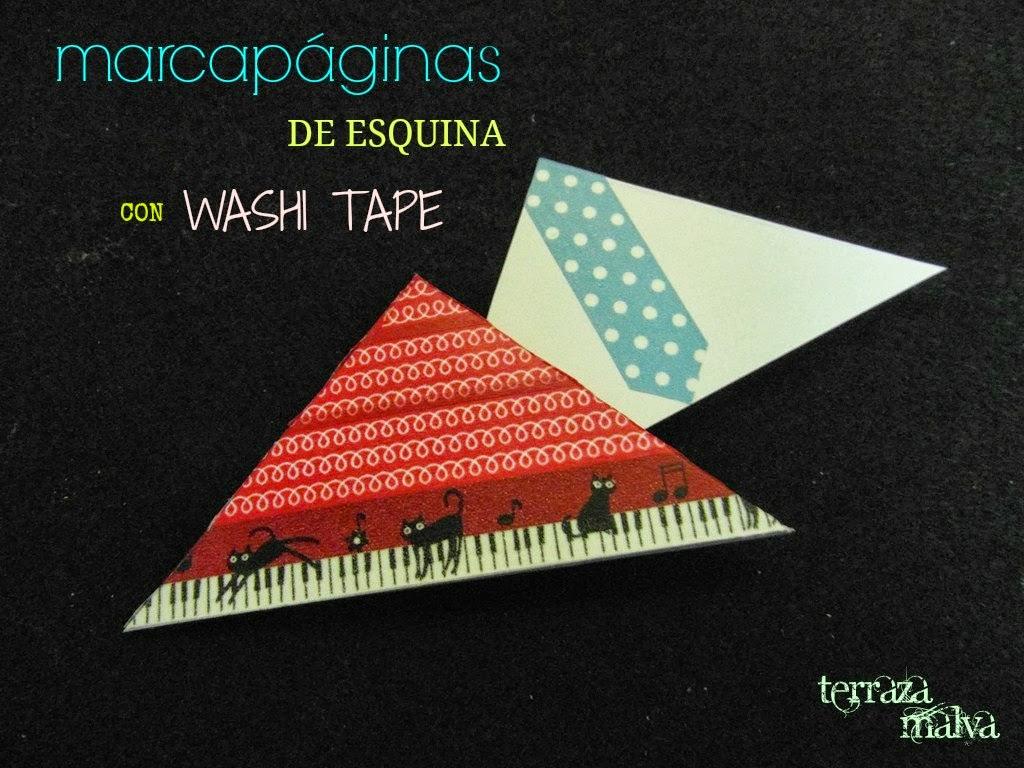 Washi tape diy 4 marcapaginas de esquina terraza malva - Marcapaginas de esquina ...