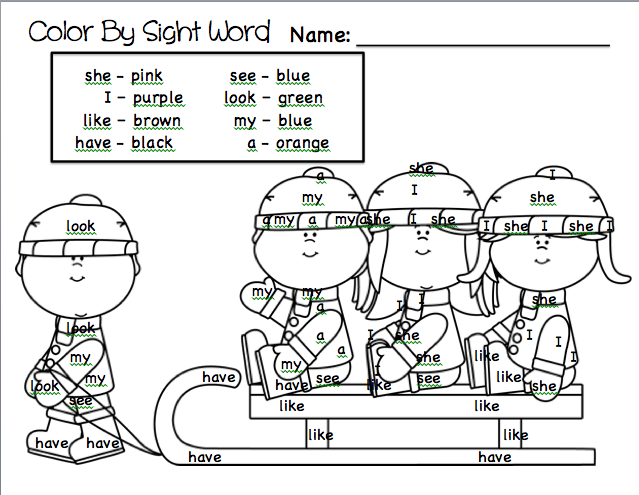 Classroom freebies too color by sight word winter fun for Sight word coloring pages