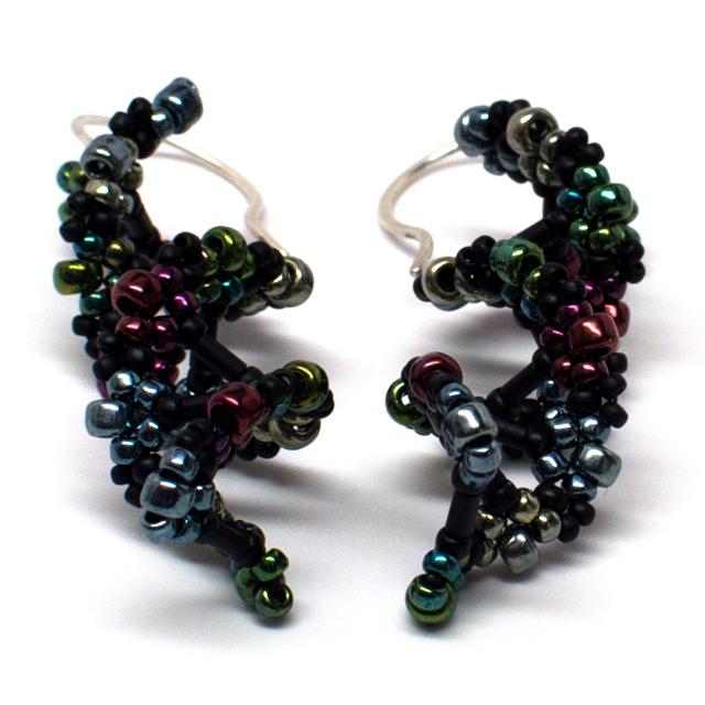 gwenbeads dna helix bead weaving earrings