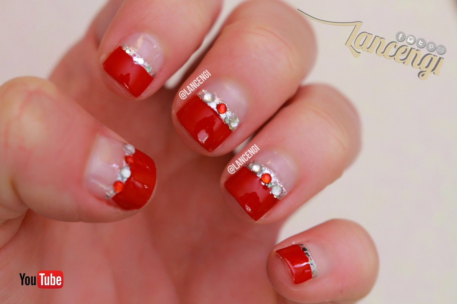 LancenGi: Easy Nail Art for Beginners - Red Silver Wedding French Nails
