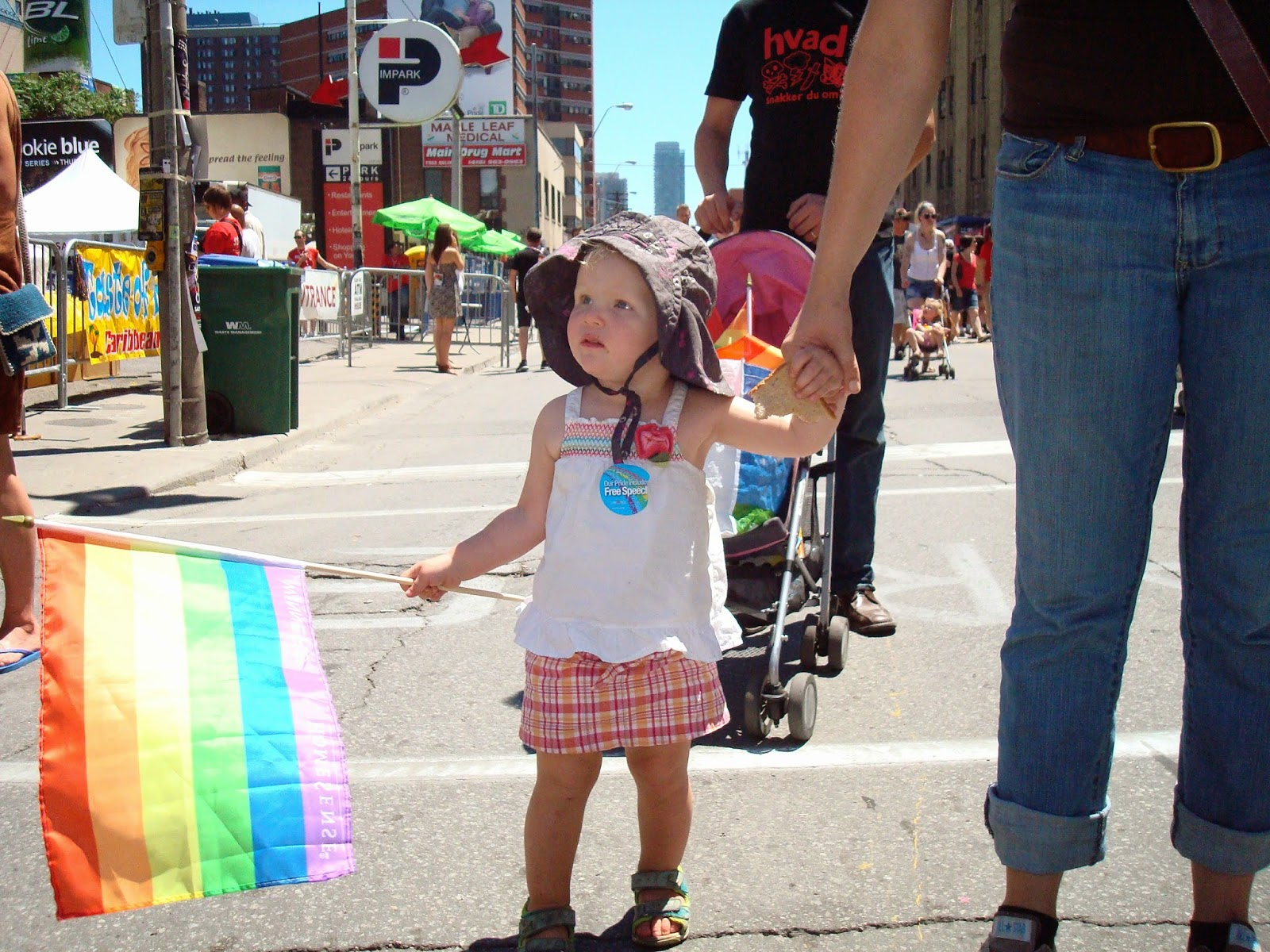 Pride Toronto Celebration along Church Street in Toronto, Ontario, Canada, Family, Children, rainbows, fashion, style, culture, gay, lesbian, flag, Melanie_Ps, The Purple Scarf