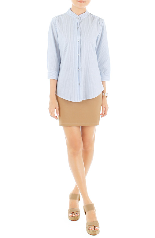 Preppy Jane Pinstripe Shirt – Light Blue