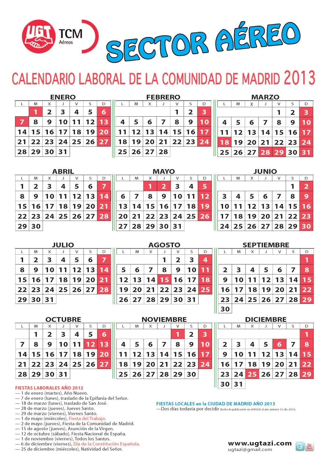Calendario laboral del sector a reo en la comunidad de for Calendario eventos madrid