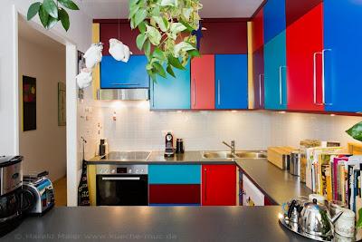 Farbige Küche - kräftige Farben mutig und stilsicher kombiniert