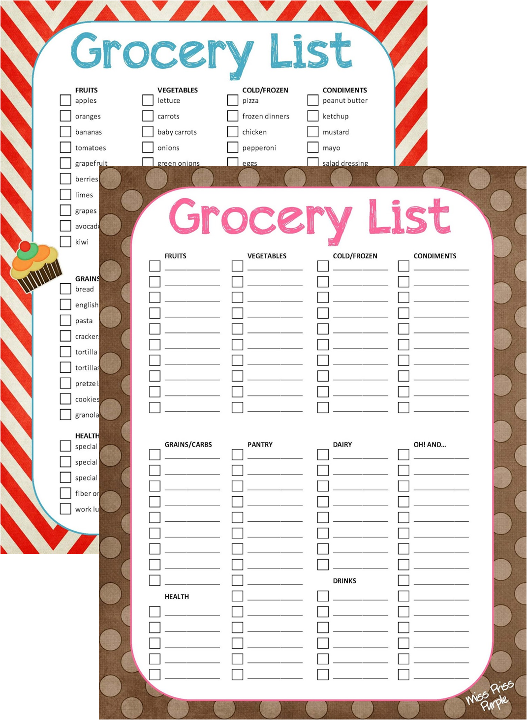 free printable grocery list template