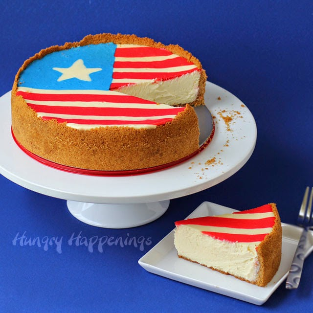 4th of July Dessert Flag Cheesecake | HungryHappenings.com