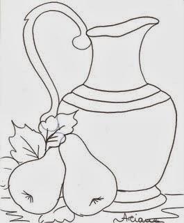 desenho de jarra com peras