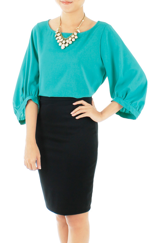 Turquoise Morning Glory Scoop Sleeve Blouse