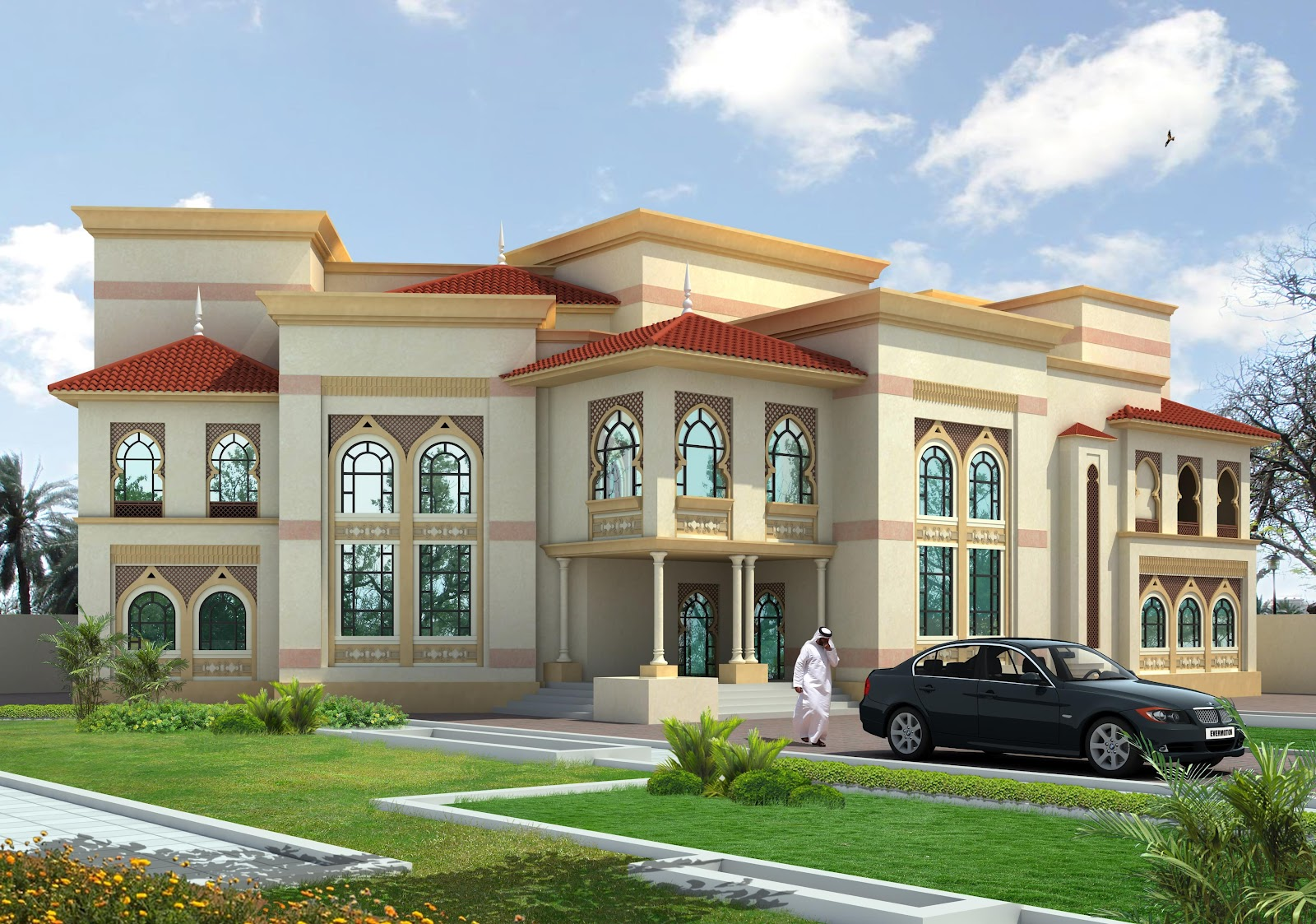 3d front beautiful villa of masqat for Beautiful villa design