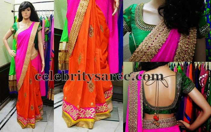 Orange and Pink Cut Work Half Saree
