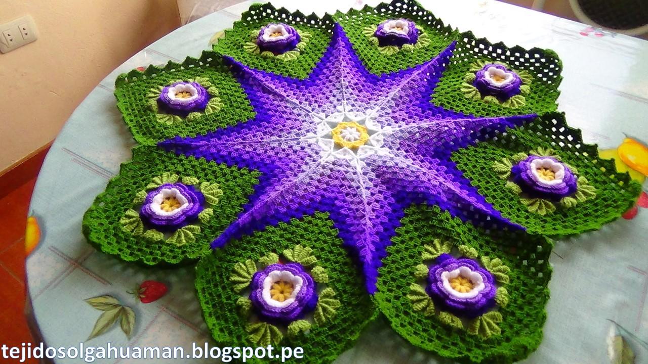 TEJIDOS OLGA HUAMAN: Tapete o Carpeta tejido a crochet de Flores