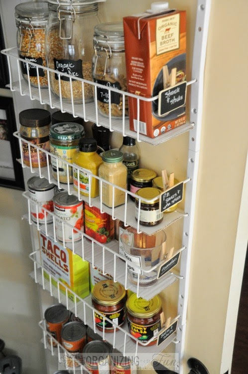 Use the back of the door for more food storage :: OrganizingMadeFun.com