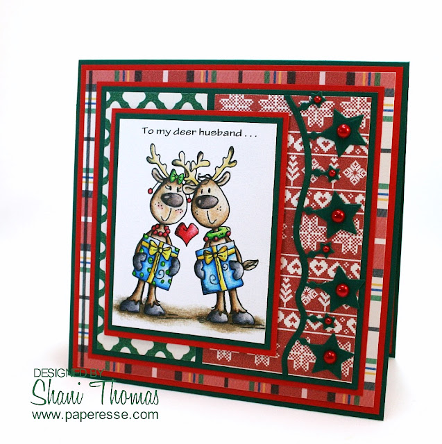 Use your Christmas stamps for more than Christmas. Anniversary card made with Bugaboo Digistamps Deer Duo. Coloring Caran d'Ache Luminance 6901 pencils. Created by Paperesse.