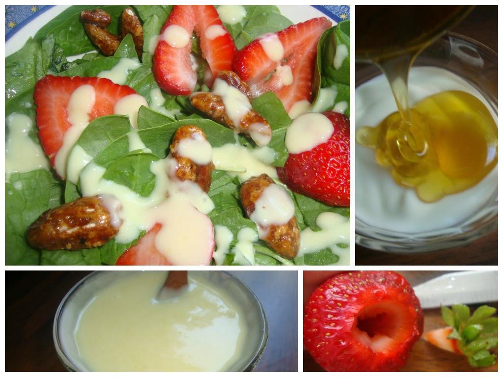 ensalada espinacas fresa y aderezo de yogurt y miel