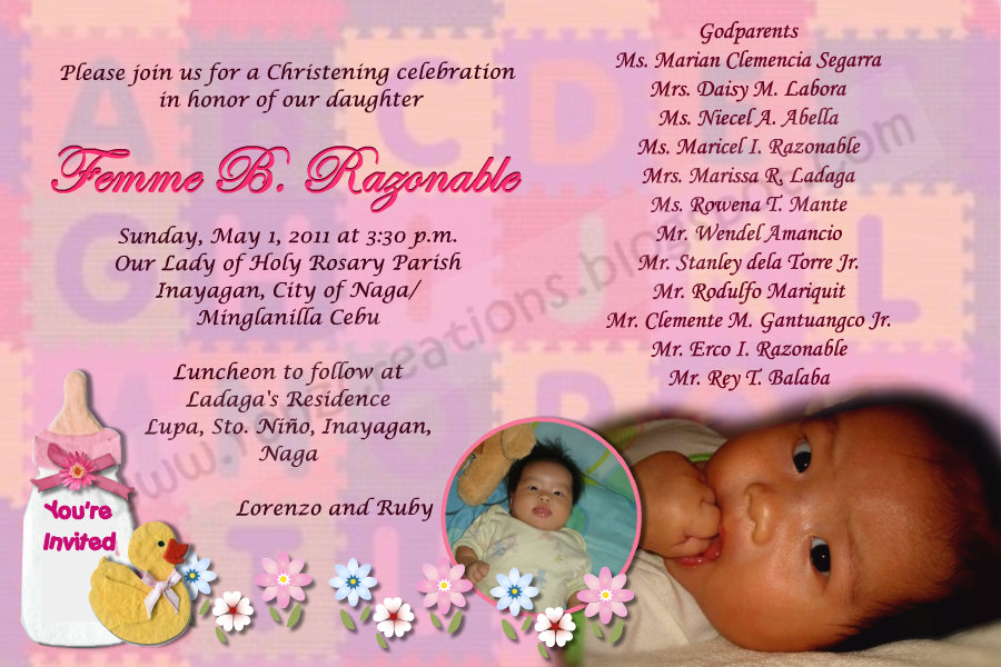baptismal invitation with sponsors - subctansuppno37's soup, Birthday invitations
