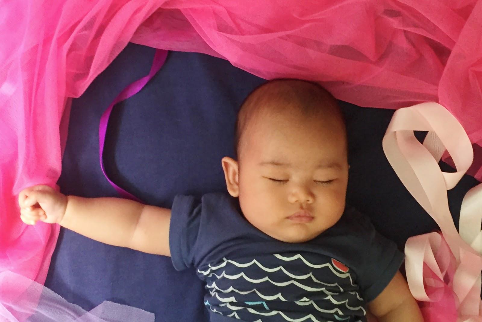 baby boy sleeping in tulle