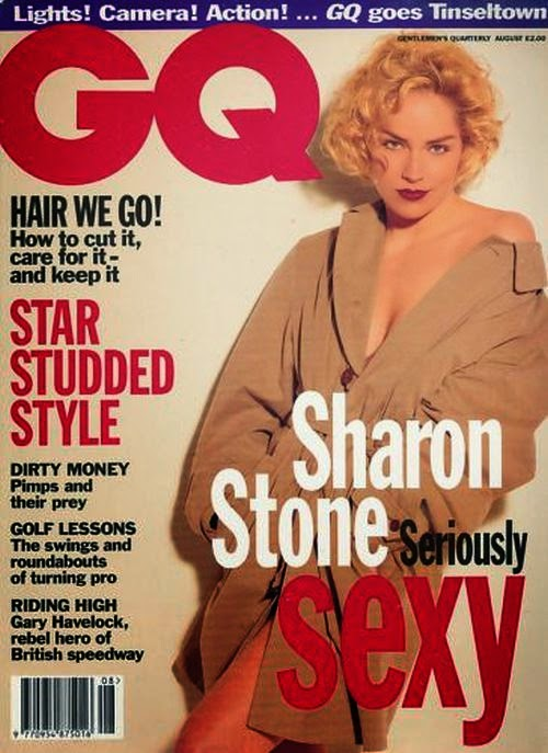 During her ages on 38-year-old, Sharon Stone put her glory into British GQ magazine cover for July 1996 edition.