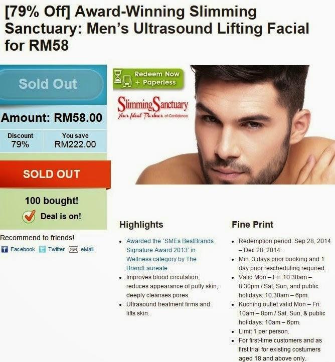 harga rawatan muka slimming sanctuary, rawatan muka penipu, slimming sanctuary review, groupon deal, pusat kecantikan dan pelangsingan penipu