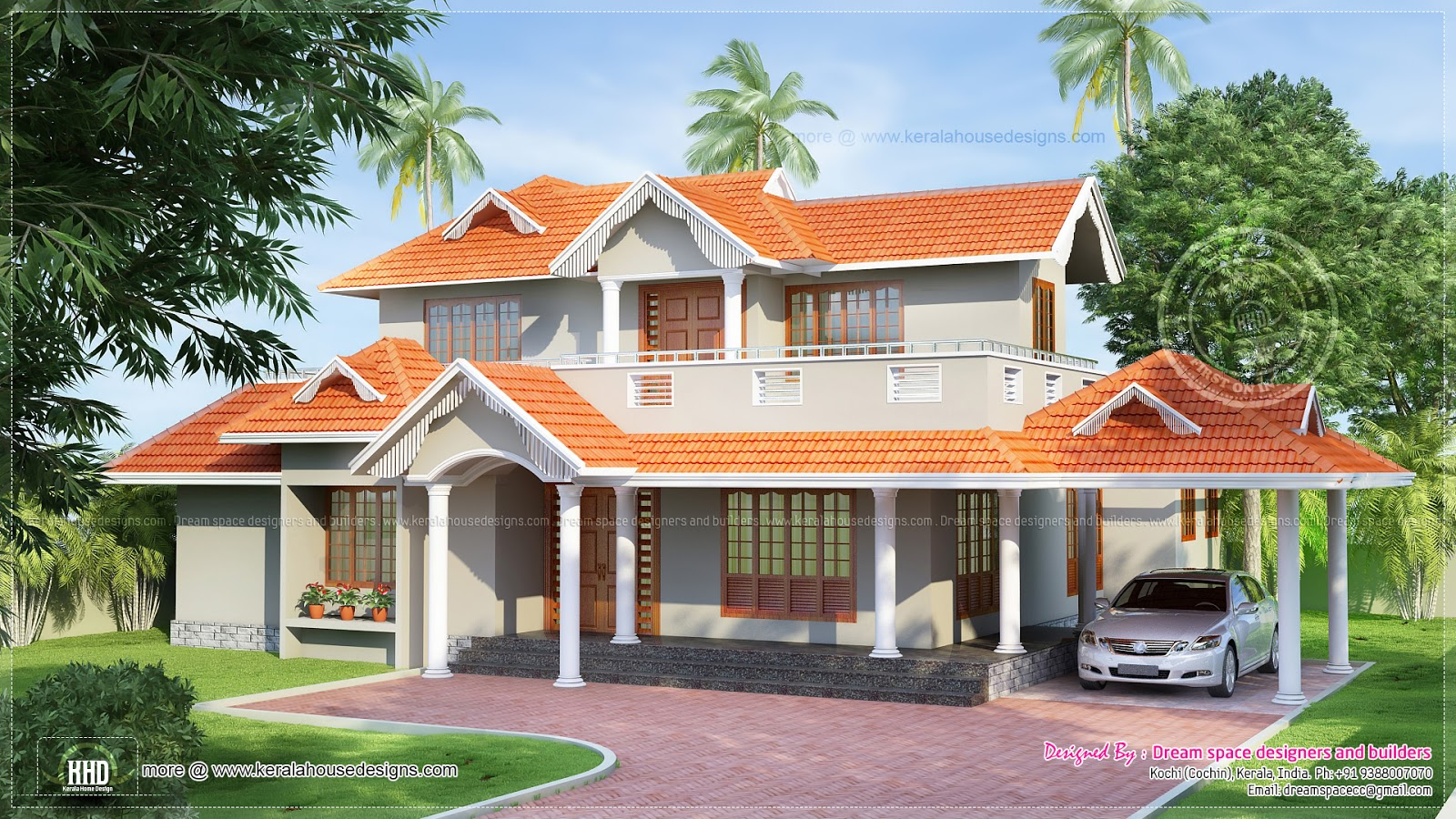 Slopping style tiles roof house in 2300 kerala for Terrace roof design india
