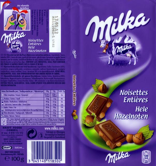 tablette de chocolat lait gourmand milka noisettes entières