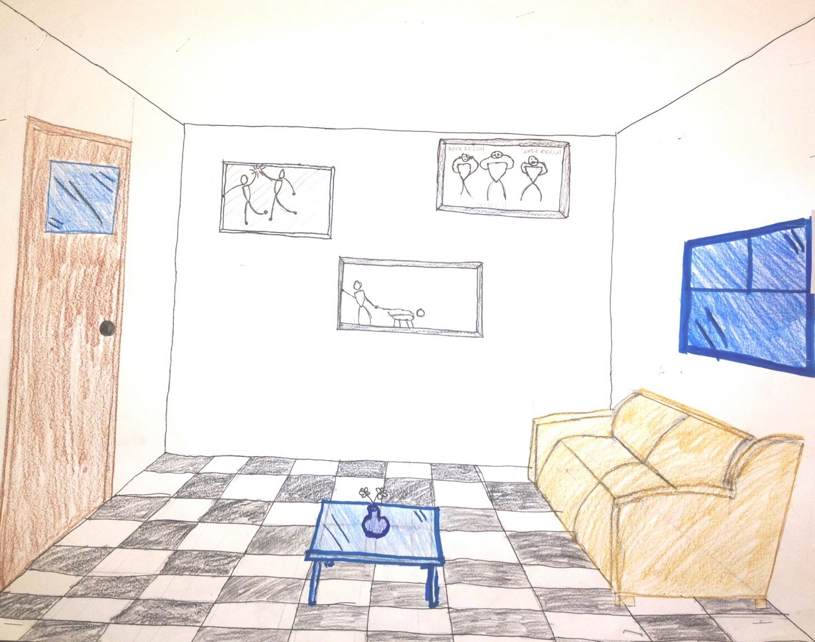 One point perspective living room drawing - The Helpful Art Teacher