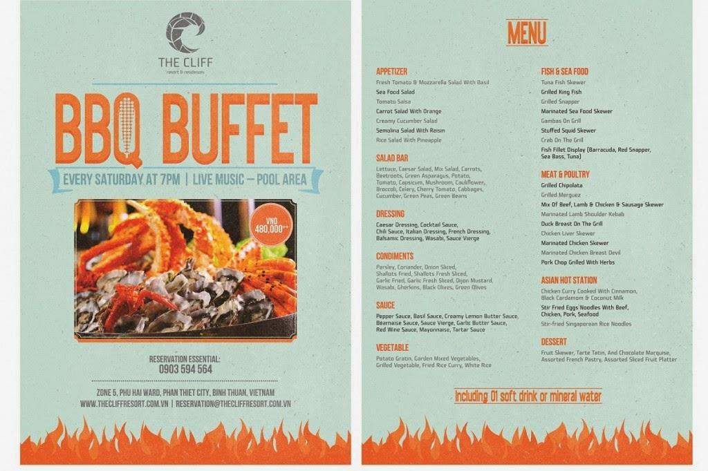 BBQ Buffet được tổ chức vào các tối thứ 7 hàng tuần