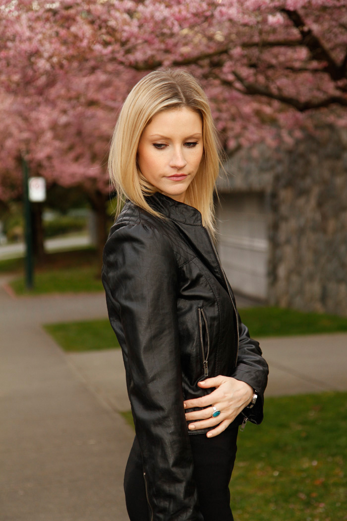 Vancouver Fashion Blogger, Alison Hutchinson, wearing Forever 21 Leather Jacket, and Zara Black Pencil Skirt.