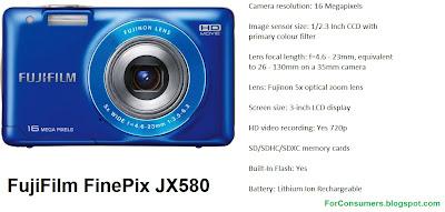 FujiFilm FinePix JX580 digital camera