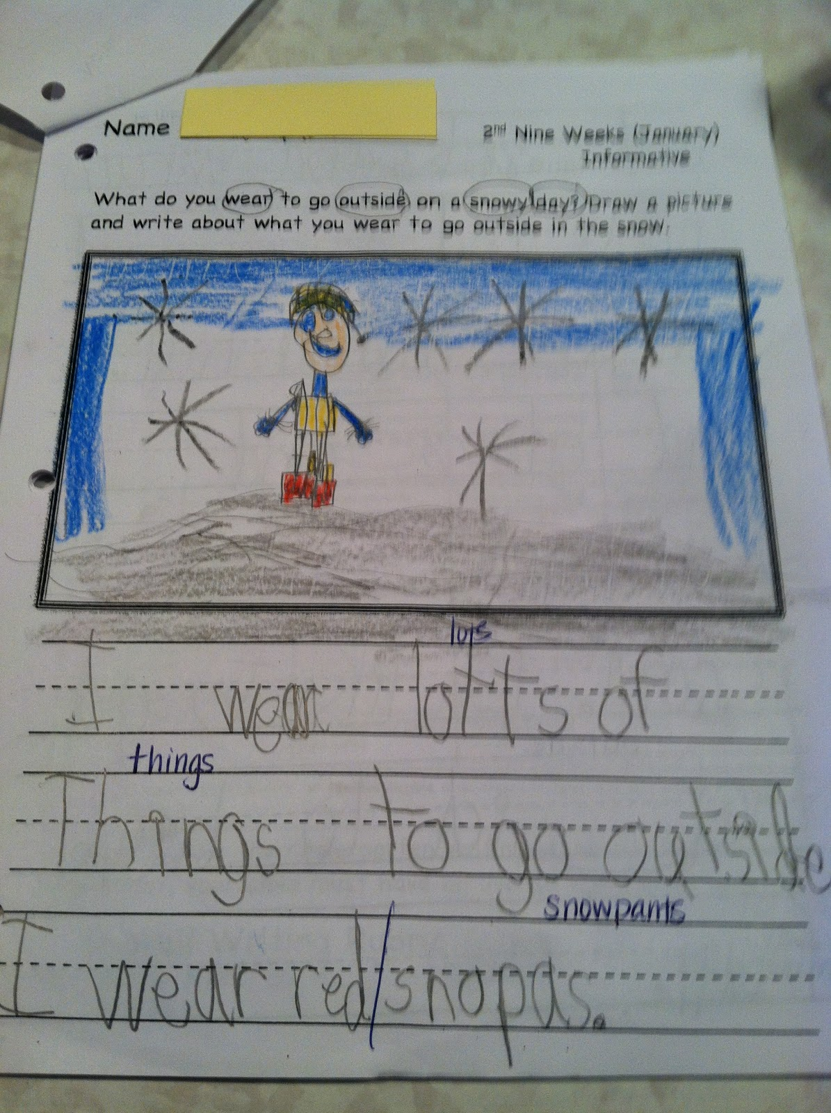 January Kindergarten Writing Samples on Busy Binder