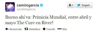 camilo garcia anuncia a the cure en river el 2013