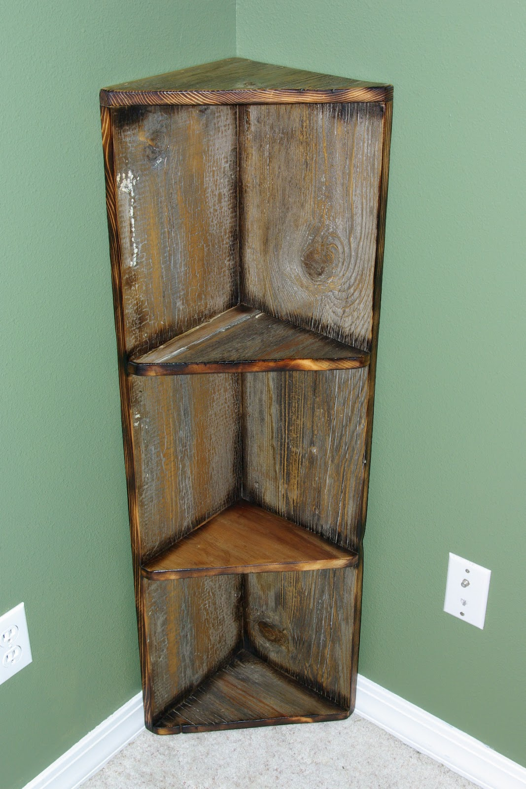 Reclaimed rustics barn wood corner shelf Corner shelf ideas
