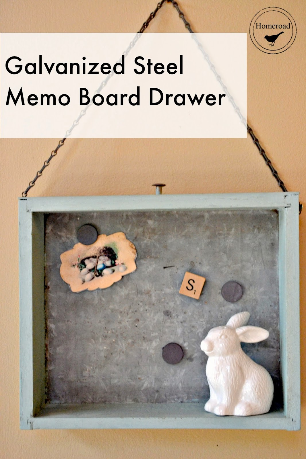 Galvanized Steel Memo Board Drawer www.homeroad.net