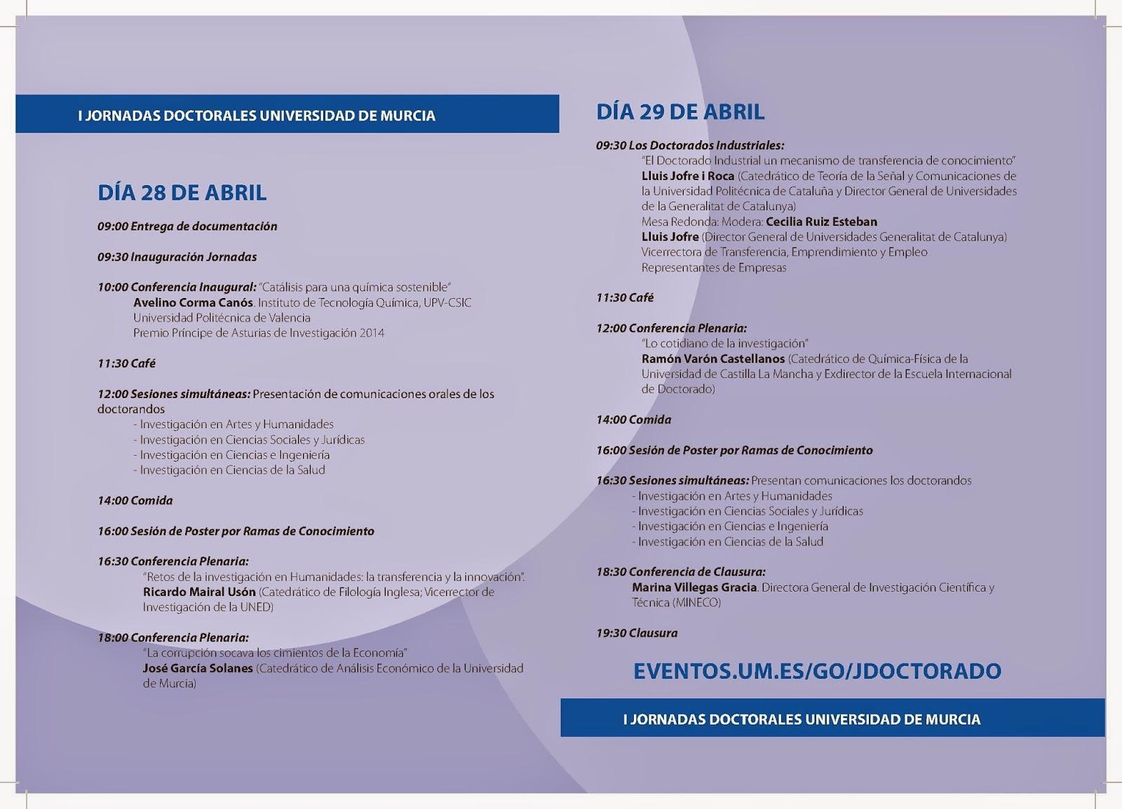 """""""I Jornadas Doctorales"""" en la Universidad de Murcia."""