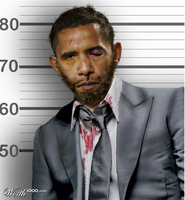 obama beat up in the face