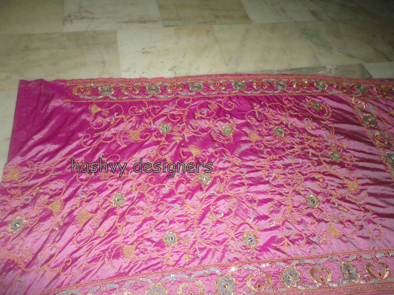Aari zardosi beads embroidery bridal saree by hashvy