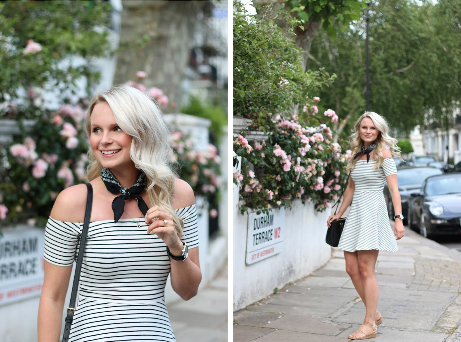 girly outfit in london, pretty and simple off the shoulder dress in the streets of notting hill
