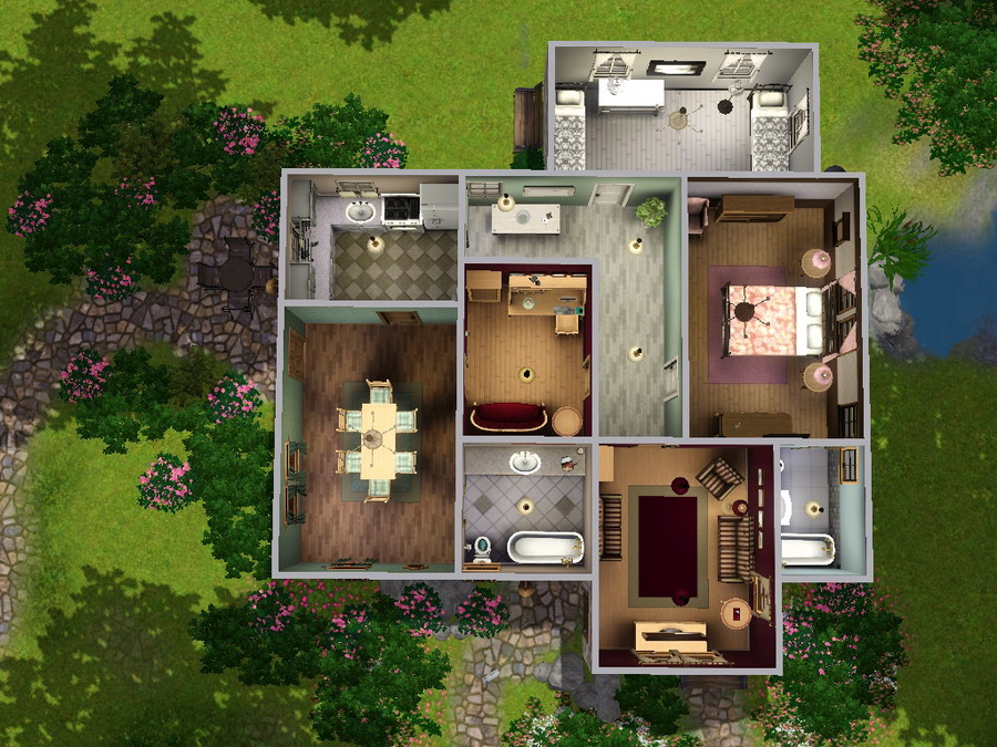 For my sims new lots from mts - Plan de maison interieur ...