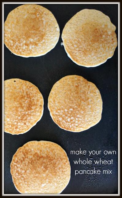 This whole wheat pancake mix is perfect for busy mornings.  Just add water and you're ready to go!
