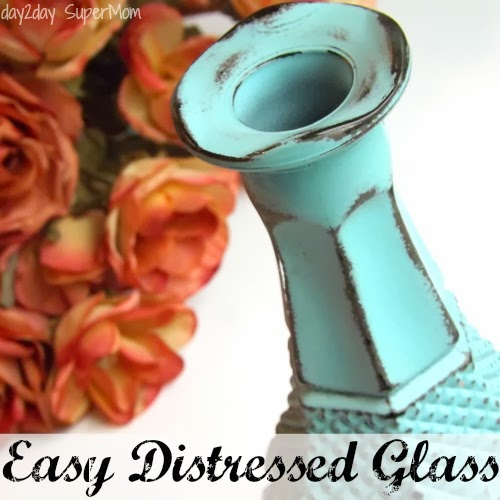 Distressed Glass Made Easy ~ DIY Friday on day2day SuperMom