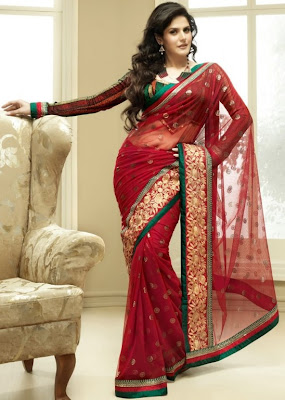 Zarine Khan purple silk saree