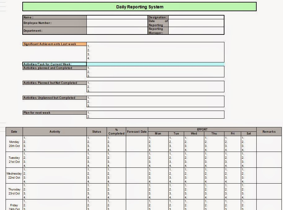 daily reporting tracker system in excel