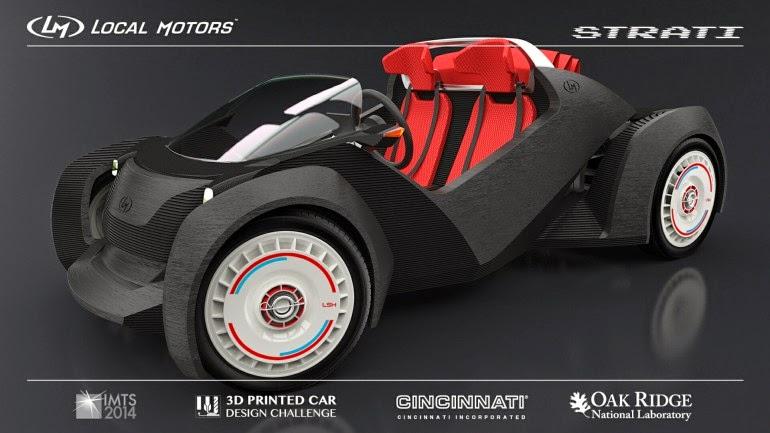 Strati primer coche que rueda fabricado con una impresora 3d