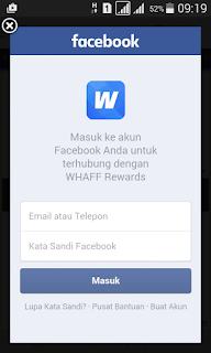 Login facebook untuk WHAFF