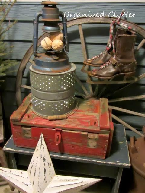 Junky, Rustic Winter Covered Patio Vignette www.organizedclutterqueen.blogspot.com