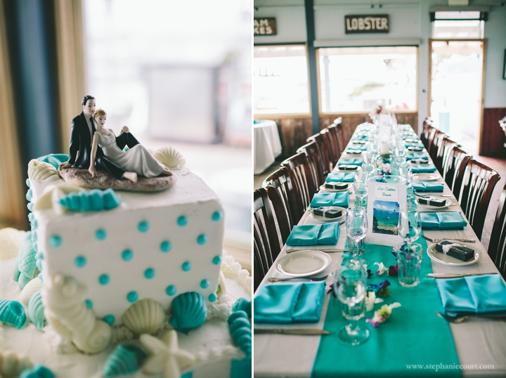 """teal beach inspired wedding reception decor"""