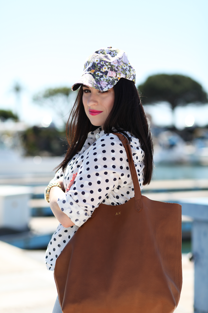 floral-cap-jcrew-polkadot-popover-cuyana-leather-tote-king-and-kind-style-blogger-san-diego