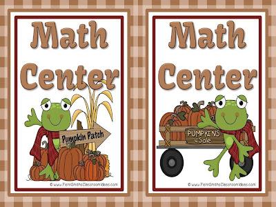 Fern Smith's New Fall Froggy Freebie Math Center Signs!