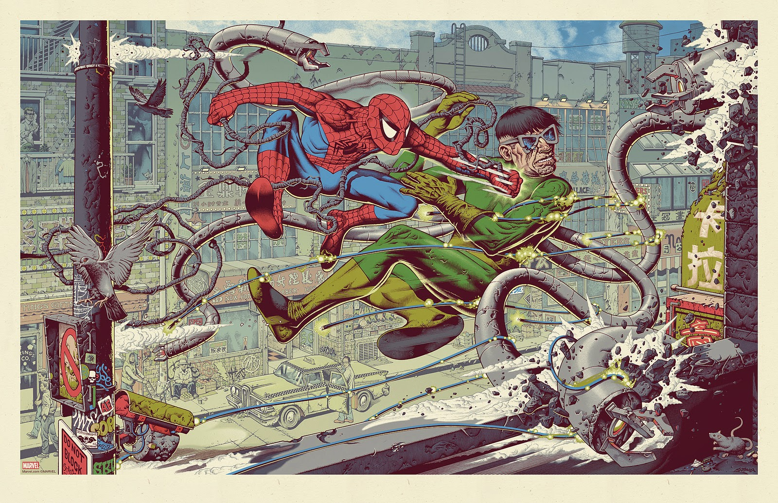 "MondoCon 14 Exclusive ""Spider-Man vs. Doctor Octopus"" Screen Print by Mike Sutfin"