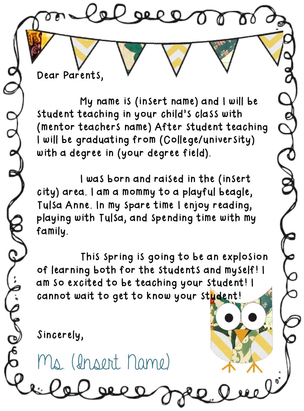 keep on teachin u0026 39   letter to parents
