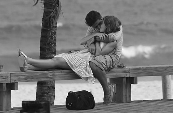 Kiss hug romantic black and white couple